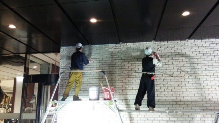 ビル内店舗壁タイル貼り・土間モルタル打設
