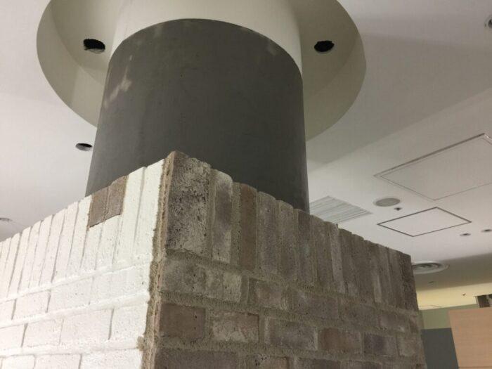 丸柱囲み壁補修
