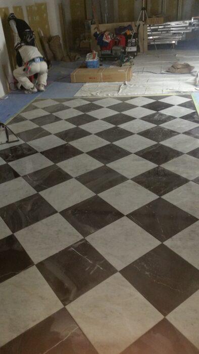 店舗床石貼り工事